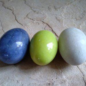 3 Decorative Marble Stone Eggs-Blues